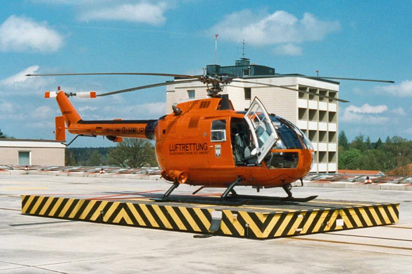 Ab September 1976 flog in Traunstein eine BO 105 C des BGS – erst in gelb, dann (wie hier abgebildet) in orange