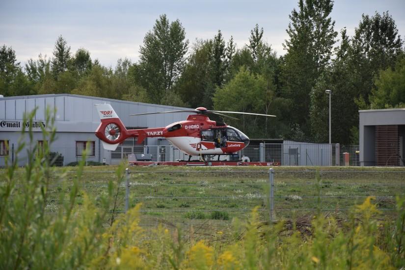 """Jüngster Luftrettungsstandort im Land Brandenburg ist Angermünde – im dortigen Gewerbegebiet ist """"Christoph 64"""" stationiert"""