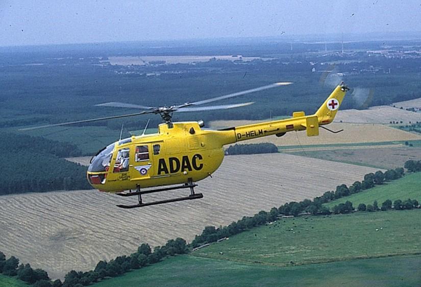 """BO 105 als Christoph 33 mit dem Aufkleber """"Luftrettung Lausitz"""""""