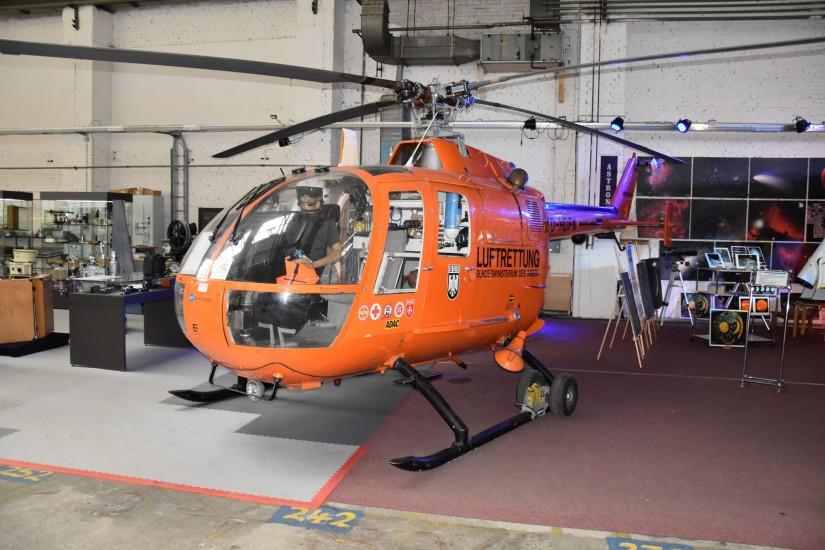 Die von 1974 bis 1996 in Kassel eingesetzte BO 105 CB befindet sich heute im Technikmuseum Kassel
