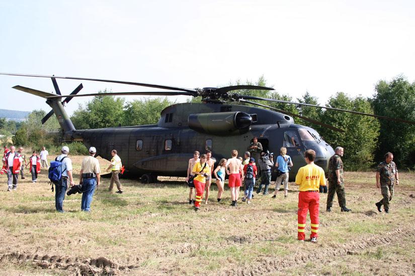 Die CH 53 im Einsatz als GRH bei einer simulierten Großschadenslage