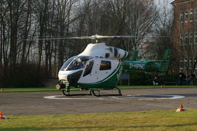 Die MD 900 stand ehemals im Einsatz für die Polizei in Niedersachsen