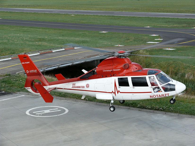 Die AS 365 ist derzeit in der deutschen Luftrettung stark mit der Johanniter Luftrettung assoziiert