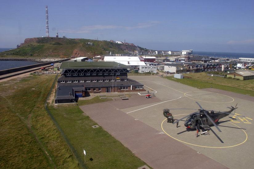 Eine Sea King am SAR-Standort der Marineflieger auf der Hochseeinsel Helgoland